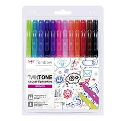 Achat en ligne 12 feutres Twintones à doubles pointes Tombow, couleurs primaires