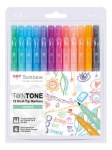 Achat en ligne 12 feutres Twintones à doubles pointes Tombow, couleurs pastels