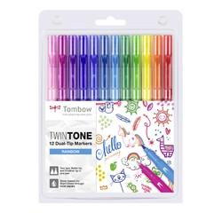 Achat en ligne 12 feutres Twintones à doubles pointes Tombow, couleurs rainbow