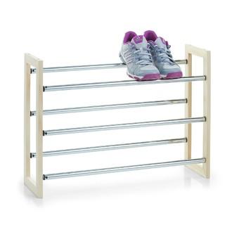 Etagère extensible pour chaussures en métal et en bambou