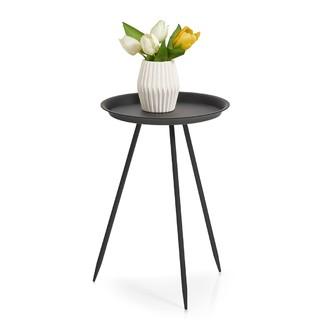 Table ronde en métal noir mat d30xh44cm