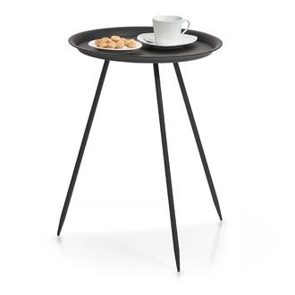 Table ronde en métal noir mat d39xh53cm