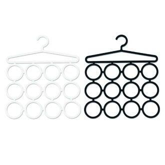 Cintre porte écharpe, foulard en plastique noir et blanc