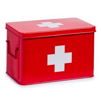 Boîte à pharmacie en métal rouge 32x19,5x20cm