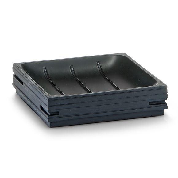 Porte-savon en polyresine noir Quadrotto