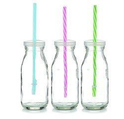 compra en línea Botella de cristal con tapa y pajita Zeller (25 cl)