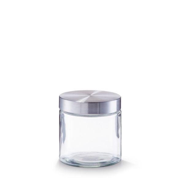 Barattolo tondo in vetro e inox 0,750ml