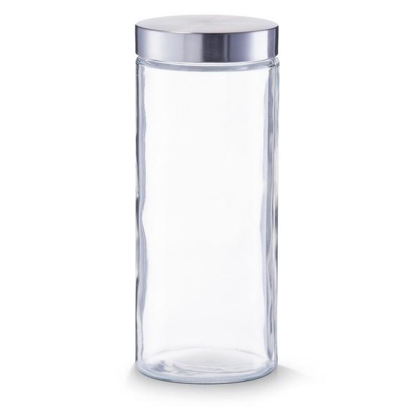 Pot de conservation en verre et inox 11x27cm