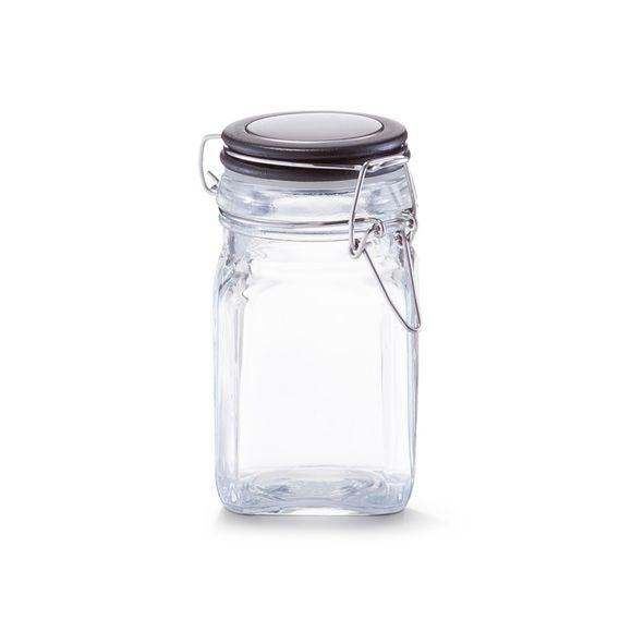 Pot à épices carré en verre couvercle noir 280ML