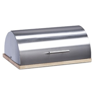 Boîte à pain en inox sur planche à pain