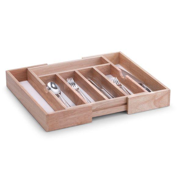 Range couverts extensible à 7 compartiments en bois
