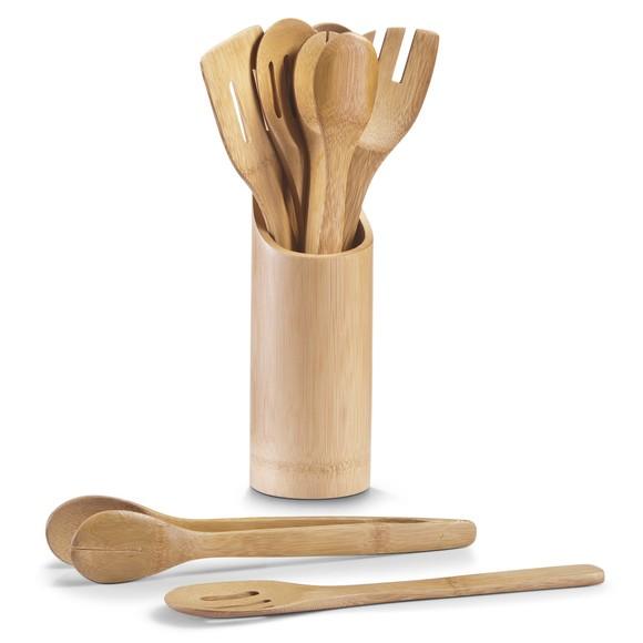 Pot à ustensiles de cuisine avec 7 ustensiles en bambou