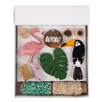 Kit cadeaux Tropical  tags+cordon+tampon