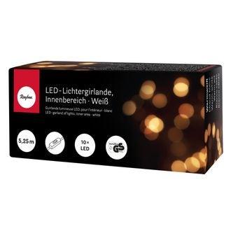 Guirlande électrique blanche 10 LED, lumière blanche + interupteur 4,55m