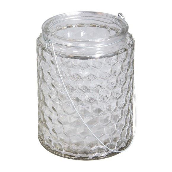 Achat en ligne Photophore en verre gaufré avec anse