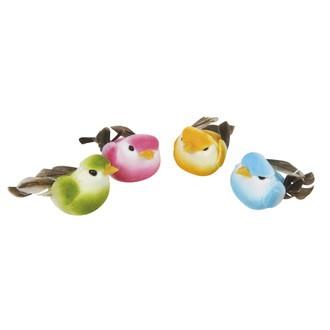 Rayher - lot de 4 petits oiseaux en plume et en résine 4cm