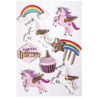 3D sticker en papier Unicorne 8pces