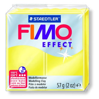 Pâte à modeler à cuire jaune translucide Fimo Effect 8020-104 57g