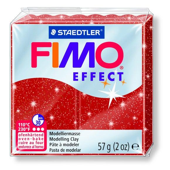 Pâte à modeler à cuire rouge pailletté Fimo 8020-202 57g