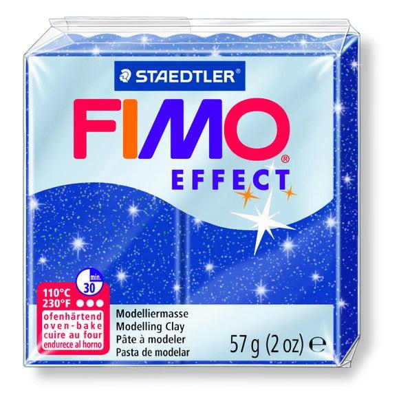 Pâte à modeler à cuire bleu pailletté Fimo Effect 8020-302