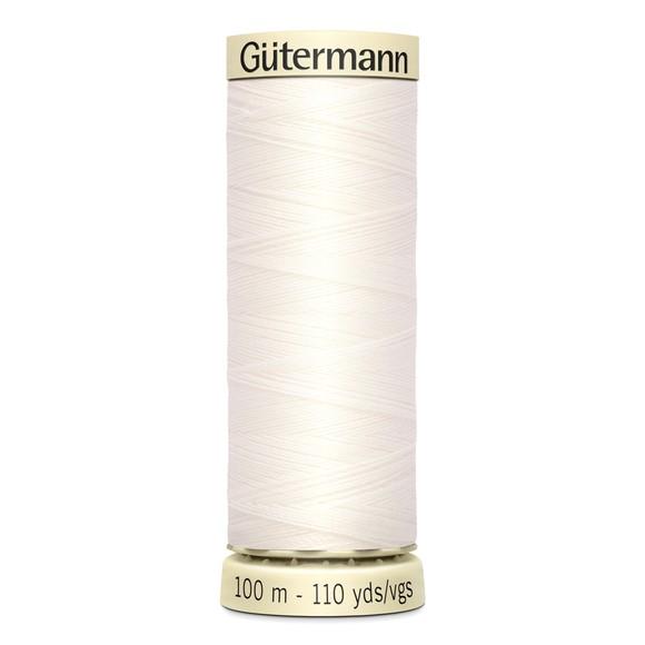 Fil à coudre blanc en polyester N°111 100m