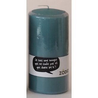 Bougie cylindrique bleu paon 15x7,7cm