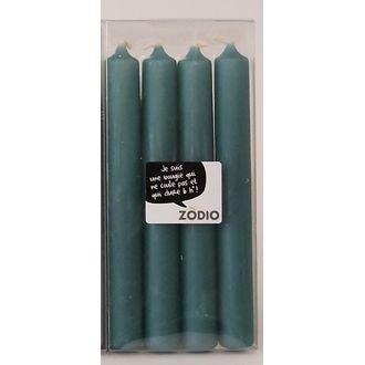 Zodio - 4 bougies droites bleu paon 18cm