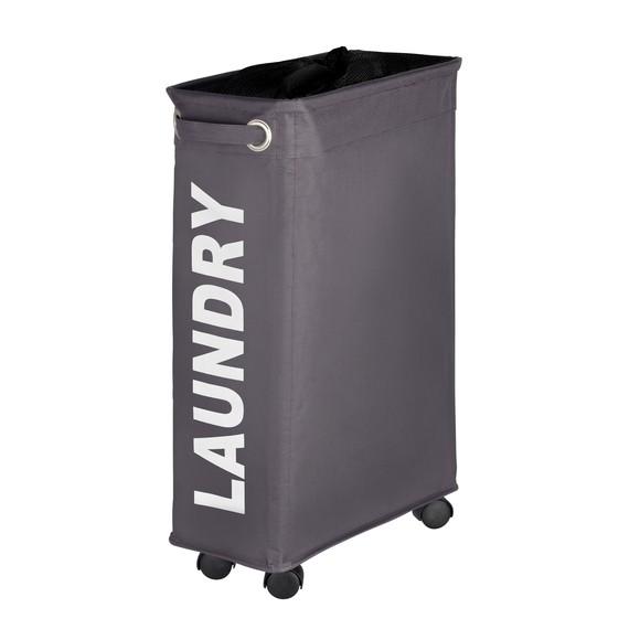Panier à linge sur roulettes polyester gris Corno 60x40x18cm
