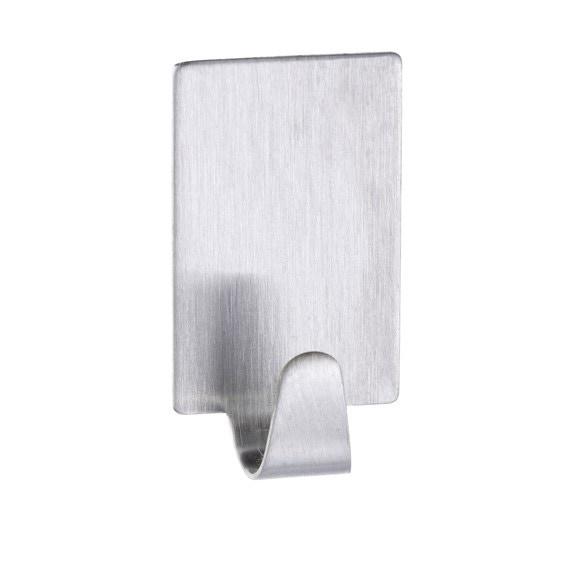 Set di 4 ganci adesivi rettangolari in acciaio inox 15,5x9,5x2,5