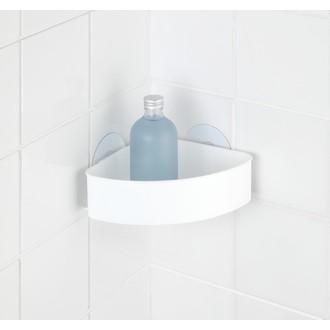 WENKO - Panier de douche d'angle en plastique blanc Static-loc