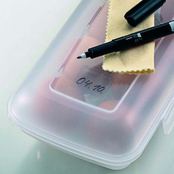 Contenitore per 10 uova in plastica trasparente 26x11,5x7cm