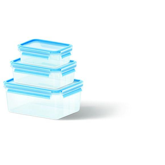 Set di 3 contenitori in plastica Clip&Close 0,55L/1L/2,3L