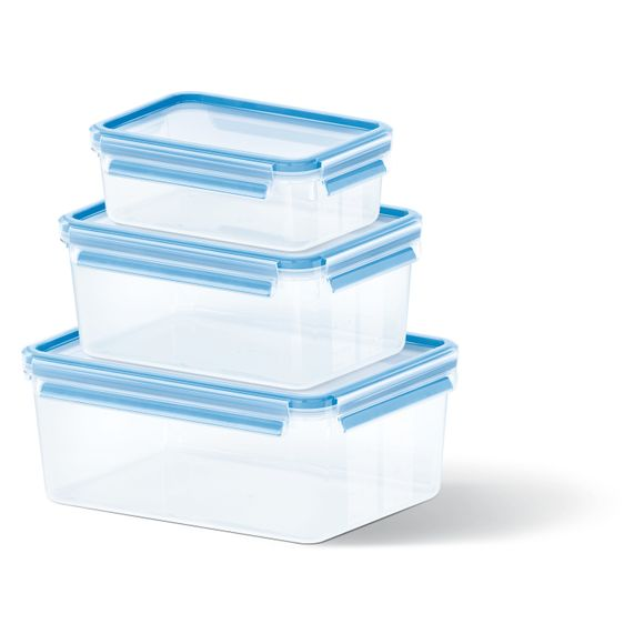Lot 3 boites conservation plastique Clip&Close 1L/2,3L/3,7L
