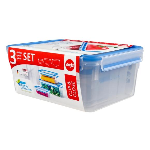 Achat en ligne Lot 3 boites conservation plastique Clip&Close 1L/2,3L/3,7L
