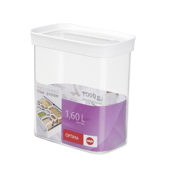 Contenitore rettangolare in plastica con coperchio 1,6L