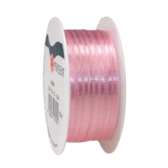 Bobine de ruban en satin rose clair 3 mm x10 m