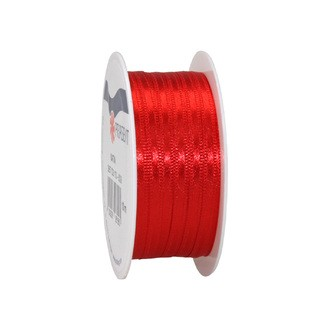 Bobine de ruban en satin rouge 3 mm x10 m