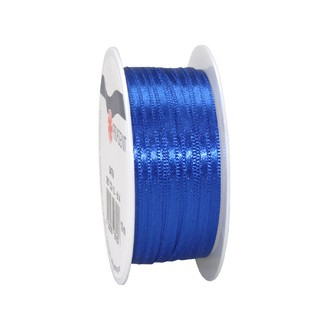 Bobine de ruban en satin bleu royal 3 mm x10 m