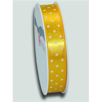 Bobine de ruban imprimé pois jaune 15mm x3m