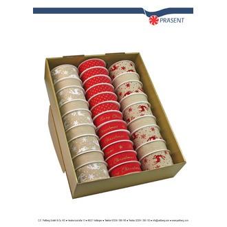 1 ruban textile lin et rouge de 25-40mmx3-4m