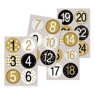 24 stickers chiffres rond or et noir 4cm