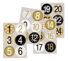 Achat en ligne 24 stickers chiffres or/noir pour calendrier de l'avent