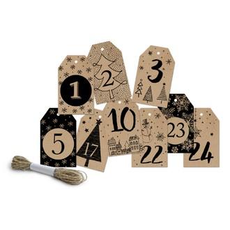 24 étiquettes chiffres kraft et noir 4,5x7,5cm
