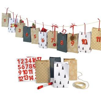 Calendrier de l'avent 24 pochettes blanc, kraft et noir, 24 chiffres rouges, ruban
