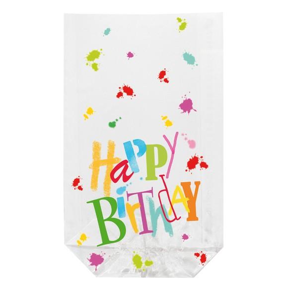 Achat en ligne 10 sachets transparents imprimés Happy Birthday 14,5x23,5cm