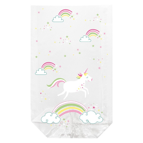 10 sachets transparents imprimés licorne 11,5x19cm
