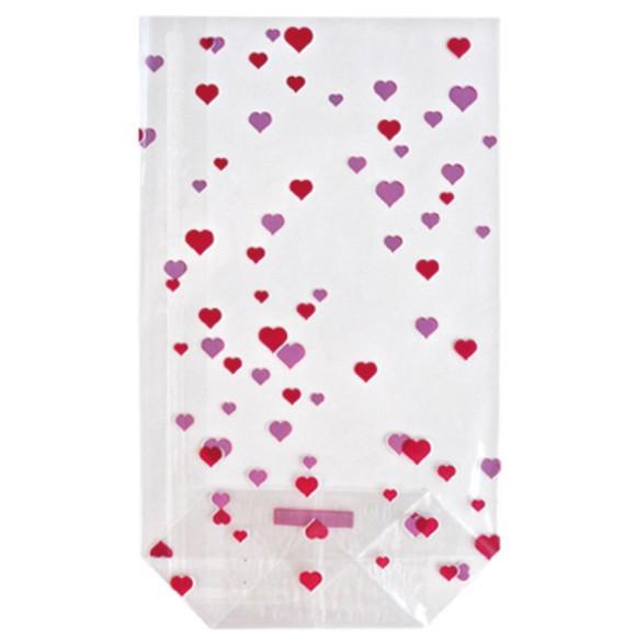 10 sachets transparents imprimés petits cœurs 14,5x23,5cm