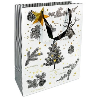 Sac sapin et branches noir - blanc et or 25x33x11cm