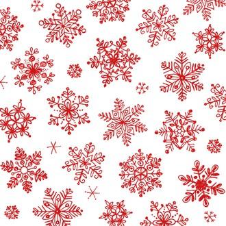 20 serviettes 33x33cm décorées cristaux de neige, rouge