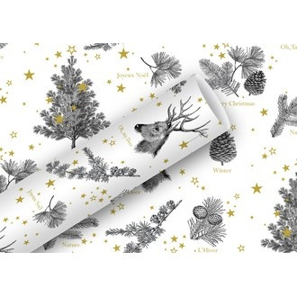 Rouleau de papier cadeau sapins et rennes noir et or 0,7x2m